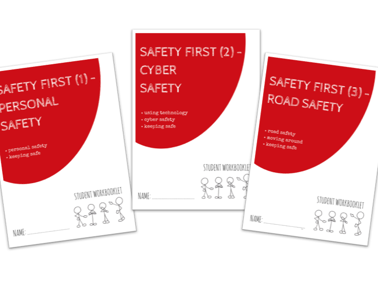 SPECIAL EDUCATION bundle - SAFETY FIRST - PERSONAL, CYBER, ROAD SAFETY x3 workbooklets