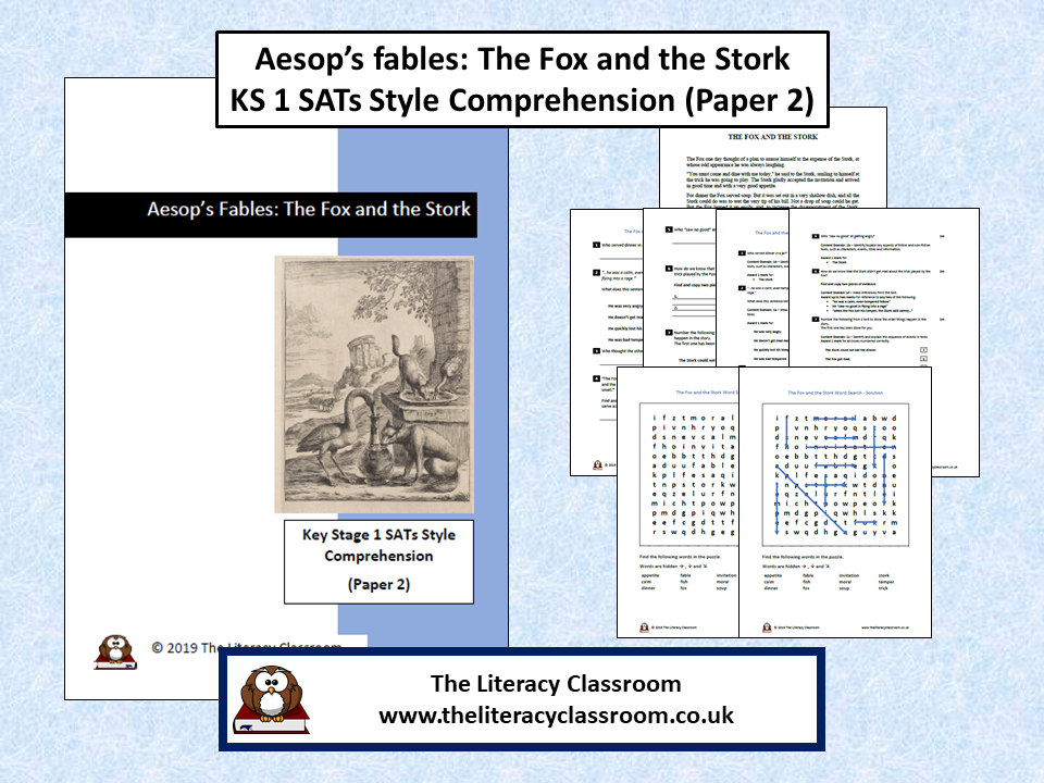 Aesop's Fables:The Fox and the Stork KS 1 Comprehension Style SATs Paper 2