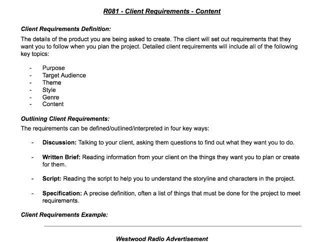 R081 - Client Requirements & Target Audience WorkSheet - Creative i-Media