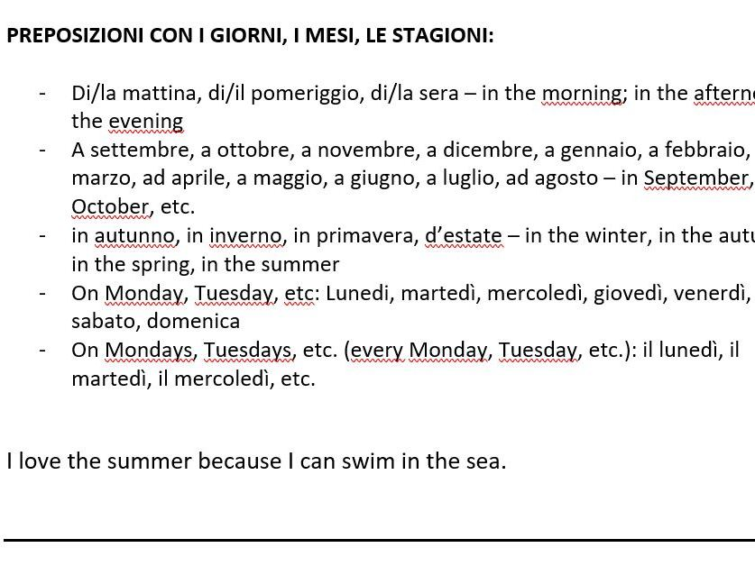 Italian GCSE Prepositions Worksheet