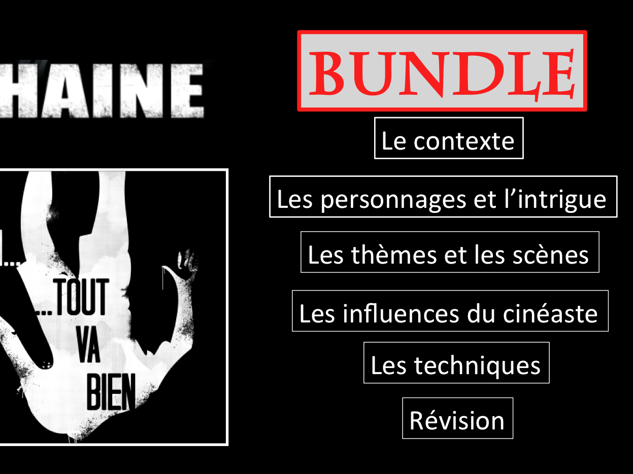 La Haine- Full movie study BUNDLE- A Level French