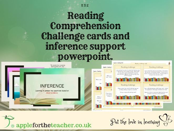 Reading activities KS2 including inference powerpoint, reading challenges and a comprehension poster