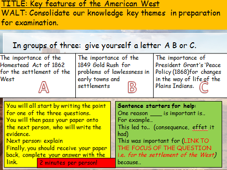 REVISION Key features of the American West (Edexcel 9-1)