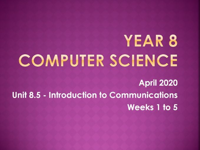 Computer Science: Intro to Communications [L1]