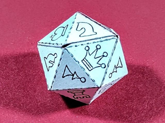 Chess Die Net - D20 icosahedron - A4