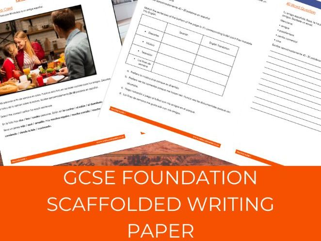 GCSE Spanish Foundation Scaffolded Writing Paper
