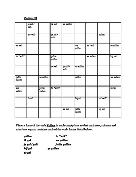 Zullen Dutch verb Sudoku