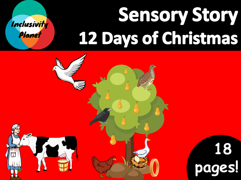 12 Days of Christmas SENSORY STORY includes vocabulary cards/sequencing and guide
