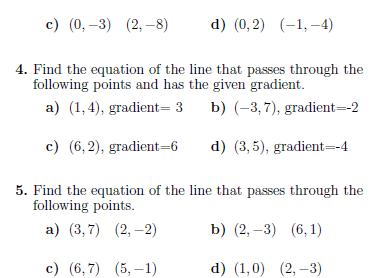 Straight line equations worksheet (with solutions)