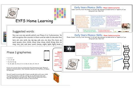 Phase 3 phonics home learning activities, remote school closed