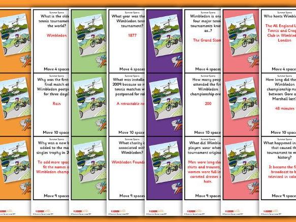 KS2 Summer Sport Board Game Wimbledon and Tour de France