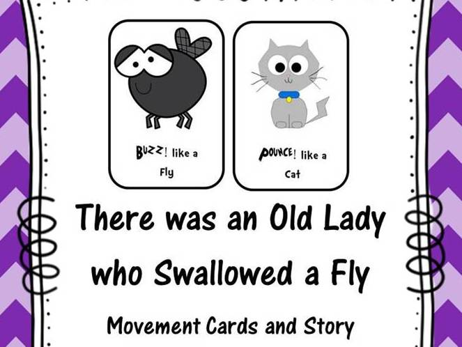 There was an Old Lady who Swallowed a Fly Movement Cards and Story
