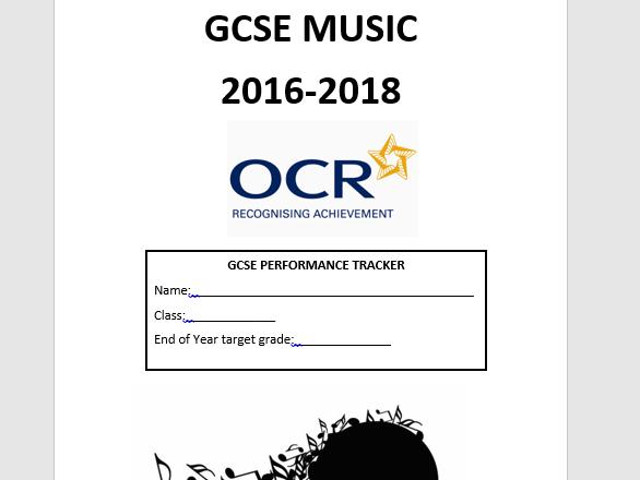 Music OCR GCSE (new spec) performance tracker
