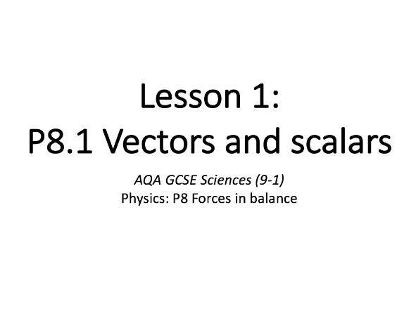 P8.1 Vectors and scalars