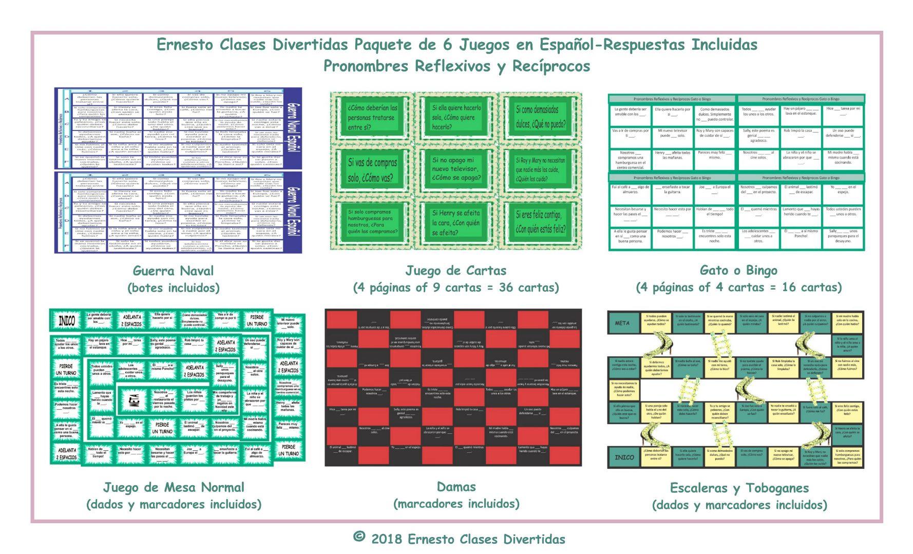 Reflexive and Reciprocal Pronouns 6 Spanish Game Bundle