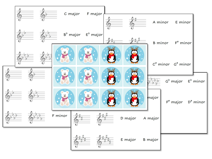 Christmas Key Signatures Flashcards/Matching Pairs Game