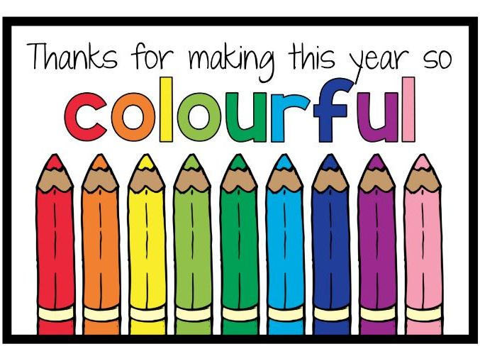 """""""Thanks for Making This Year so Colorful"""" End of Year Gift Tags (UK & US Spellings)"""