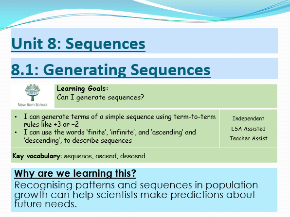 KS3 Maths Progress Lesson- Number Properties and Sequences