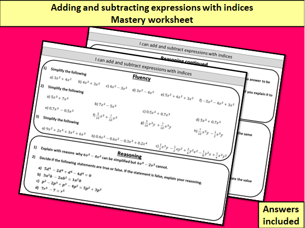 Adding and subtracting expressions with indices (collecting like terms) - mastery worksheet
