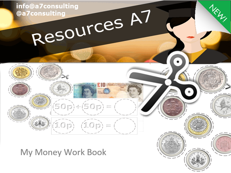KS1 Maths  Money Student work book activity - Recognising denominations, adding, subtracting
