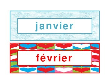 Calendar headings seasonal in French