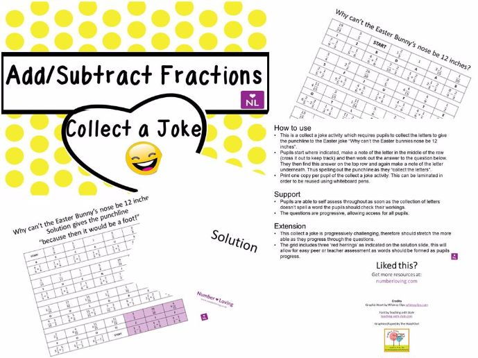 Adding Fractions Collect a Joke (Easter)