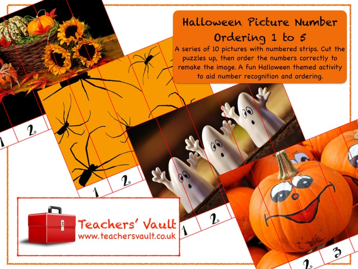 Halloween Picture Number Ordering 1 to 5