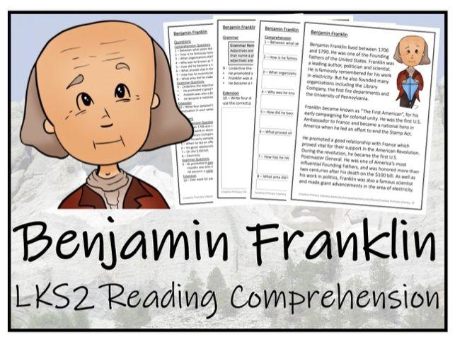LKS2 History - Benjamin Franklin Reading Comprehension Activity