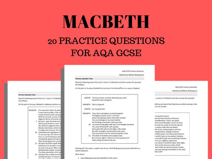 Macbeth Practice Questions for AQA GCSE