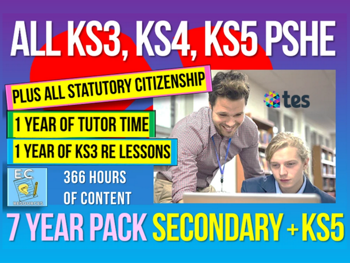 Complete Secondary + KS5 PSHE, RSE, Careers, Citizenship + Tutor Time