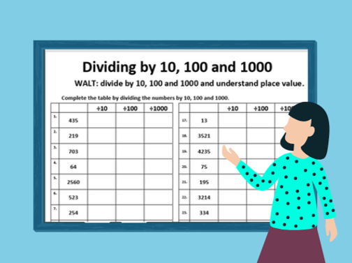 Dividing by 10, 100 and 1000 (Place Value- 2 worksheets)