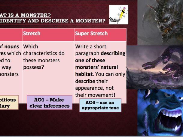 KS3 Descriptive Writing (Sensory Language) - Describing a Monster