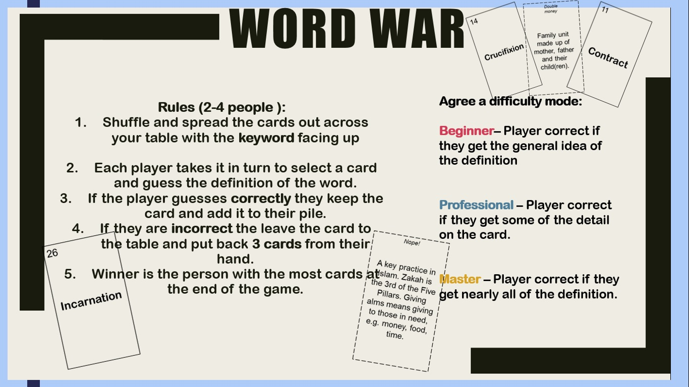Keywords revision  game GCSE Christianity, Islam, Theme A