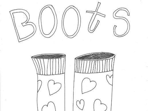 Boots: Clothing: Seasons Colouring Page