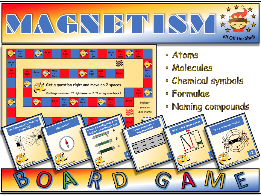 Magnetism - Magnets and Electromagnets 42 Question Board Game for KS3