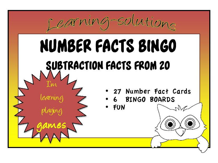 SUBTRACTION NUMBER FACTS - BINGO GAME - Random Facts subtracting from 20