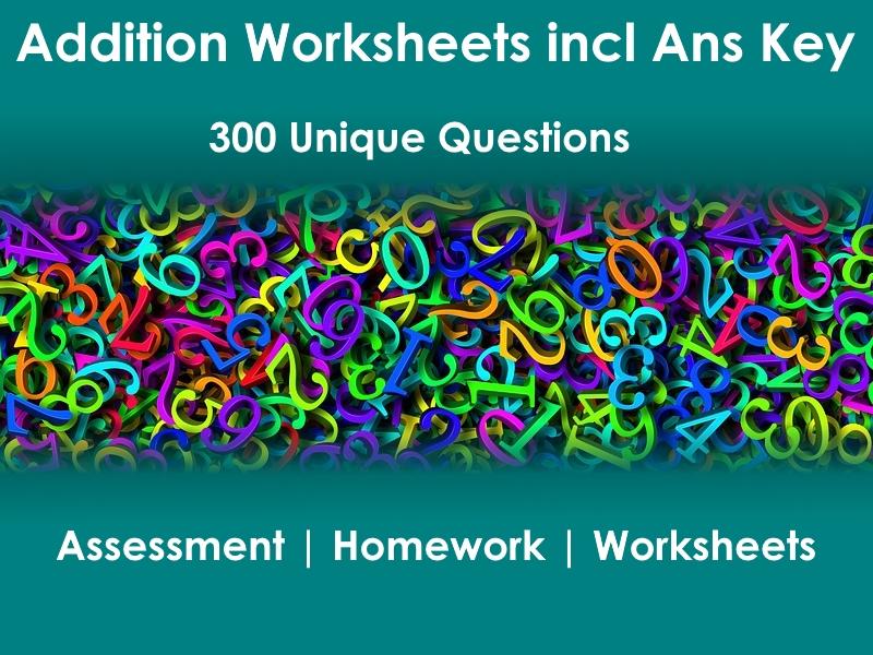 15pg Addition Worksheets & Ans Keys - 300 problems