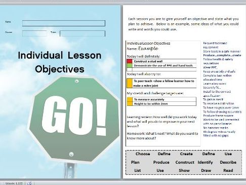 Individual Lesson Objective booklet