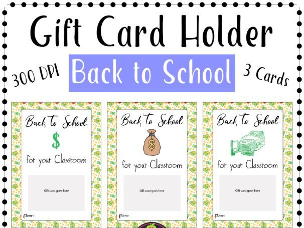Back to School Gift Card Holder Printable