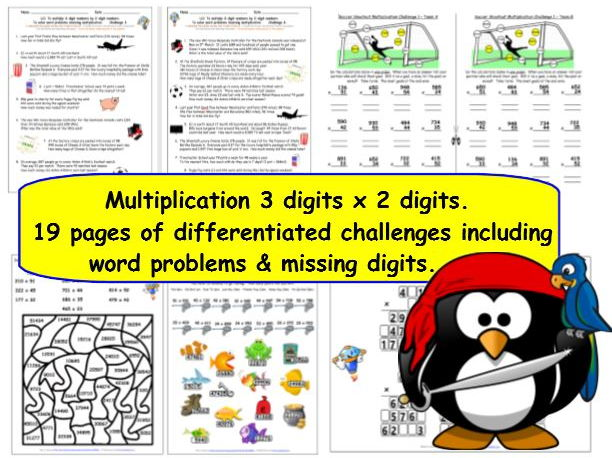Multiply 3-digits by 2-digits Y5 Differentiated Multiplication Challenges, Missing Digits & Problems