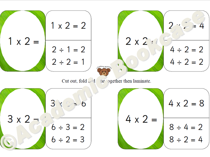 Self check flashcards - 2, 10 and 5 times table with inverse