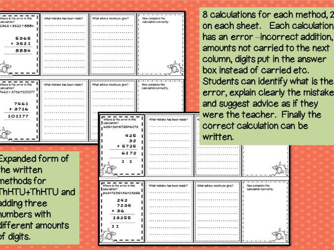 Error Analysis / Spot the Mistake Task Cards for Written Addition Methods Year 5 6