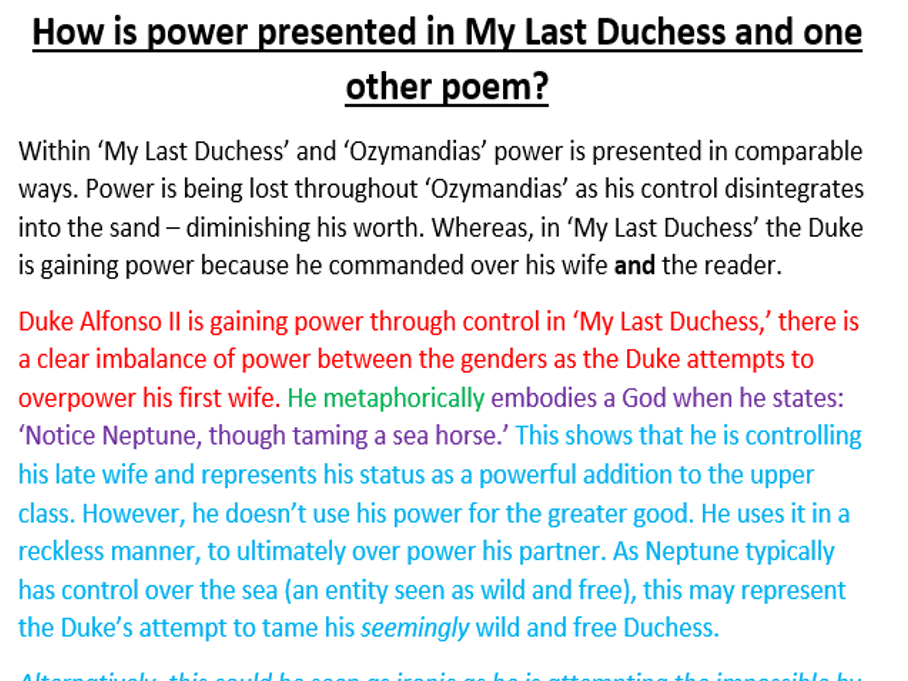 my last duchess imagery