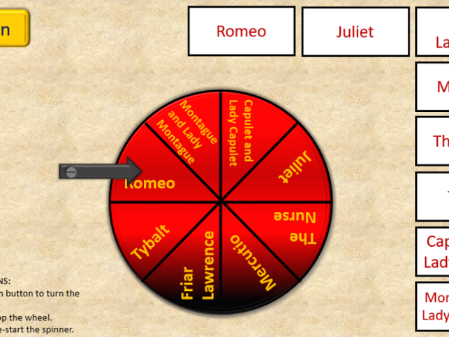 Shakespeare Romeo and Juliet Character Spinner revision tool ICT interactive fun IWB