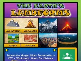 The Earth's Landforms: Google Slides, Distance Learning + PPT + Worksheet