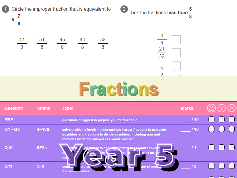 Fractions Worksheet + Answers (KS2 - Year 5)