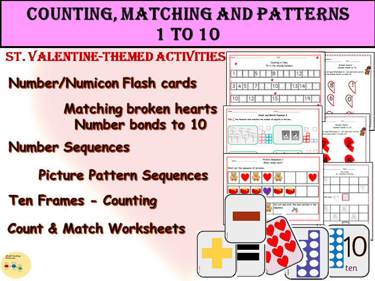 EYFS/KS1: St. Valentine- Count, Match, Patterns/Sequences, Number Bonds to 10, Ten Frames Activities