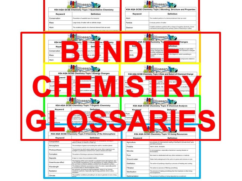 KS4 AQA GCSE Glossaries Complete Set of Chemistry T1-T10 (Combined or Separate)