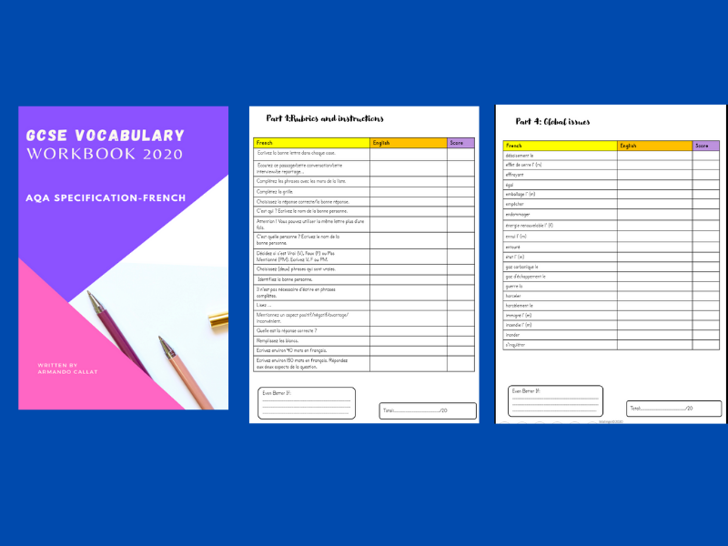 GCSE VOCABULARY AQA WORKBOOK FRENCH