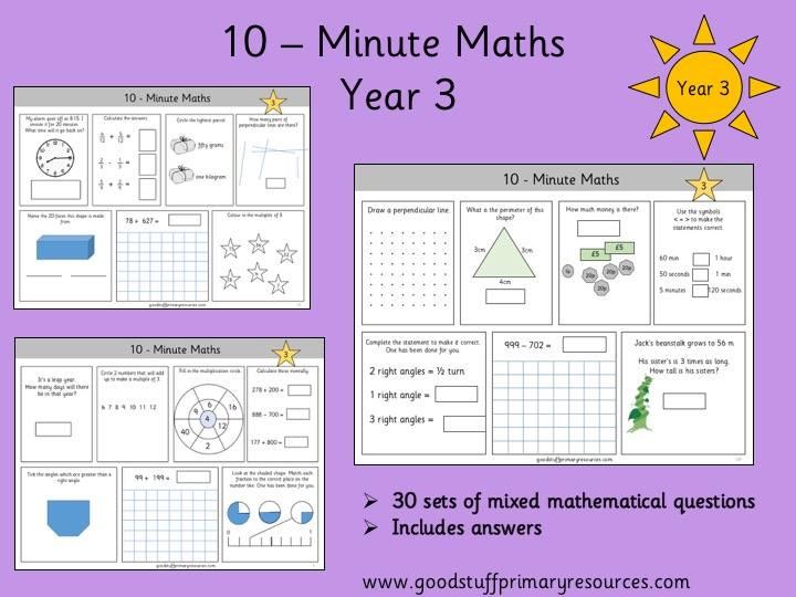 Year 3 10-minute maths tasks